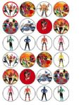 24 x Power Rangers Samurai Wafer Paper Cake Bun Toppers